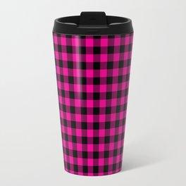 Classic Hot Pink Country Cottage Summer Buffalo Plaid Travel Mug