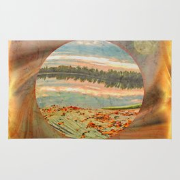 Rowing boat on the shore Rug