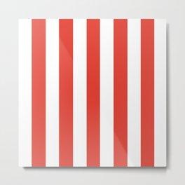 Vermilion orange - solid color - white vertical lines pattern Metal Print