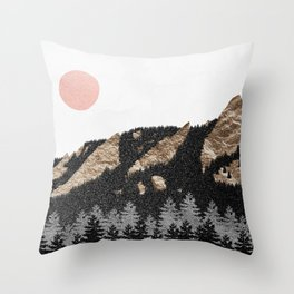 Flatirons Boulder Colorado - Climbing Gold Mountains Throw Pillow