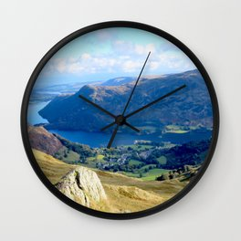 Mountains, Valleys and River during a hike in England Wall Clock