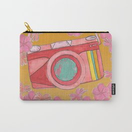 Vintage Camera and Plumeria Flowers  Carry-All Pouch