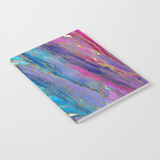AGATE MAGIC PinkAqua Red Lavender, Marble Geode Natural Stone Inspired Watercolor Abstract Painting Notebook