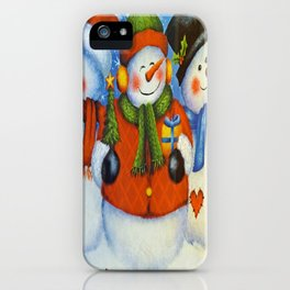 3 Happy Snowmen iPhone Case
