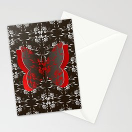 Paper butterfly cutout on floral background Stationery Cards