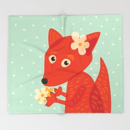 Cute Fox And Flowers Throw Blanket