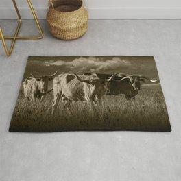 Sepia Tone of Texas Longhorn Steers under a Cloudy Sky Rug