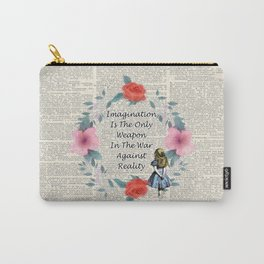 Floral Alice In Wonderland Quote on A Vintage Dictionary Page- Imagination Carry-All Pouch