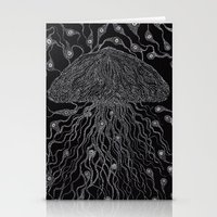jelly fish Stationery Cards featuring Jelly Fish by OKAINA IMAGE