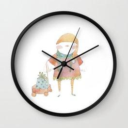 Bird Elf with a Gift Wall Clock