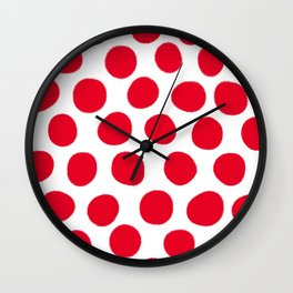 Juicy Red Apple Polka Dots with White Wall Clock
