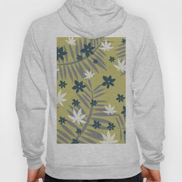 fern Flower Leaves Design yellow Hoody