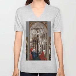 Rogier van der Weyden - Seven Sacraments Altarpiece Unisex V-Neck