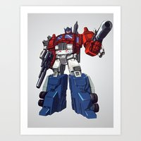 optimus prime Art Prints featuring Optimus by CromMorc