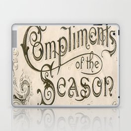 Season's Greetings Shabby Chic French Country Modern Vintage Christmas Typography Laptop & iPad Skin