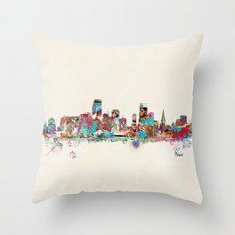 Miami Florida skyline Throw Pillow