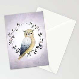 A Long Eared Owl On A Laurel Stationery Cards