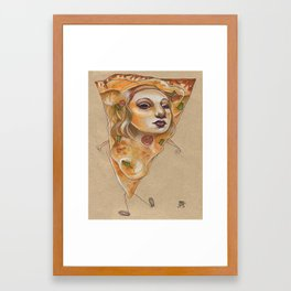 PIZZA LADY Framed Art Print