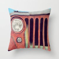 jeep Throw Pillows featuring Jeep by Shannon Rutherford