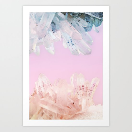 Serenity and Rose Quartz Crystals Art Print