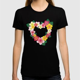 Plumeria Heart Wreath T-shirt
