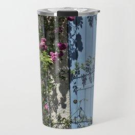 Blue door pink flowers - Provence, France Travel Mug