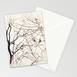House Sparrows in Tree Branches Stylized Minimalist Nature Stationery Cards