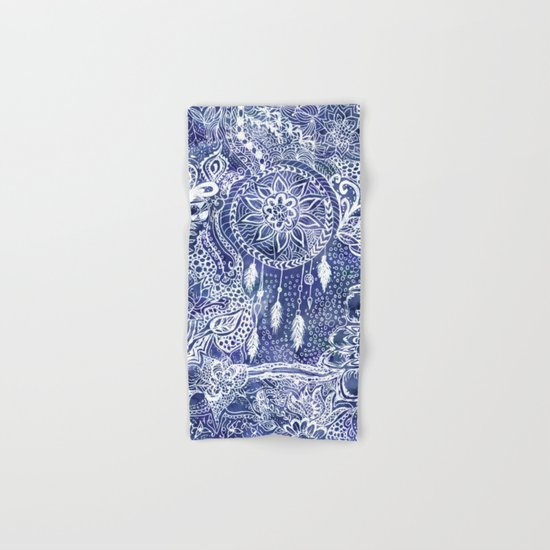 Boho blue dreamcatcher feathers floral illustration Hand & Bath Towel