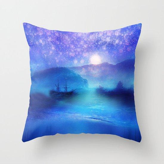 Fantasy in Blue. Throw Pillow