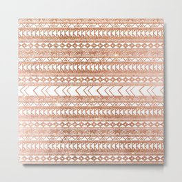 Geometrical tribal white rose gold faux glitter Metal Print