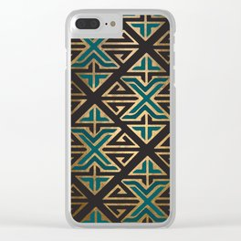 Art Deco Ornamental Teal Happiness Clear iPhone Case