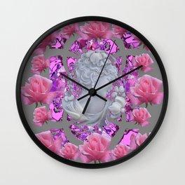 ABSTRACT PINK ROSES & CAMEO GIRL PURPLE-GREY Wall Clock