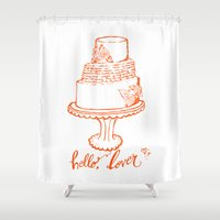 cake Shower Curtains featuring Cake by mariaVcreative
