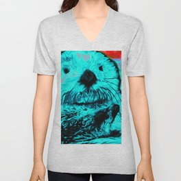 Sea Otter, mint green Unisex V-Neck