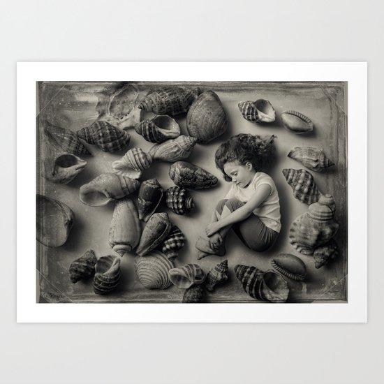 The Collection - A tiny girl, sleeping among seashells. Art Print