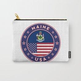 Maine, Maine t-shirt, Maine sticker, circle, Maine flag, white bg Carry-All Pouch