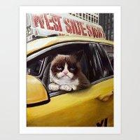 Grumpy Taxi Art Print