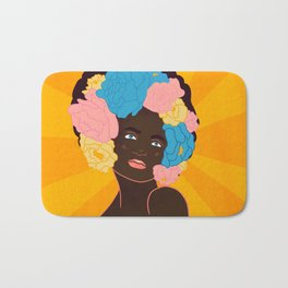 lady with flowers in her hair Bath Mat