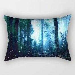 Fireflies Night Forest Rectangular Pillow