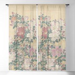 Vintage Flowers Azalea Japanese Painting Sheer Curtain