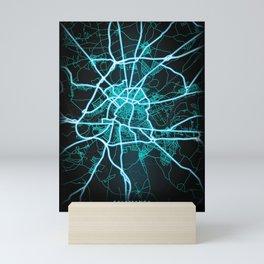 Salamanca, Spain, Blue, White, Neon, Glow, City, Map Mini Art Print