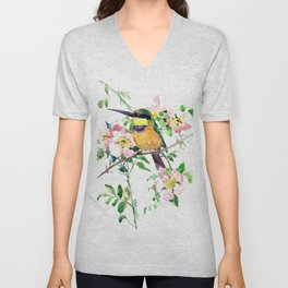 Bee-Eater and Rosehip, birds and flowers, bird art Unisex V-Neck