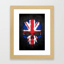 Union Jack Flag on a Chaotic Splatter Skull Framed Art Print