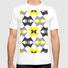 Yellow, gray & black geometric pattern Mens Fitted Tee MEDIUM White