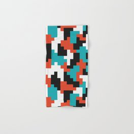 Colour blocking shapes red, teal Hand & Bath Towel