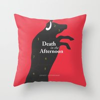hemingway Throw Pillows featuring Ernest Hemingway book Cover & Poster - Death in the Afternoon by Stefanoreves