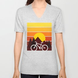 sun mountain riding bike Unisex V-Neck