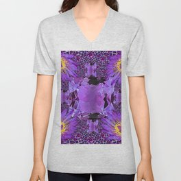 EXOTIC AMETHYST FEBRUARY  FLORAL FANTASY  ABSTRACT Unisex V-Neck