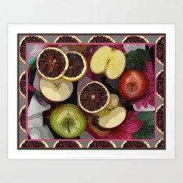 Apples and Blood Oranges Border One Art Print
