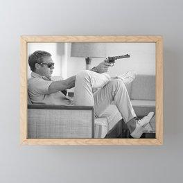 Steve McQueen, Gun, Sunglasses, Retro, Black and White, Photograph Framed Mini Art Print